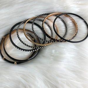 Jewelry - A BUNDLE OF 8 BLACK BANGLE BRACELETS